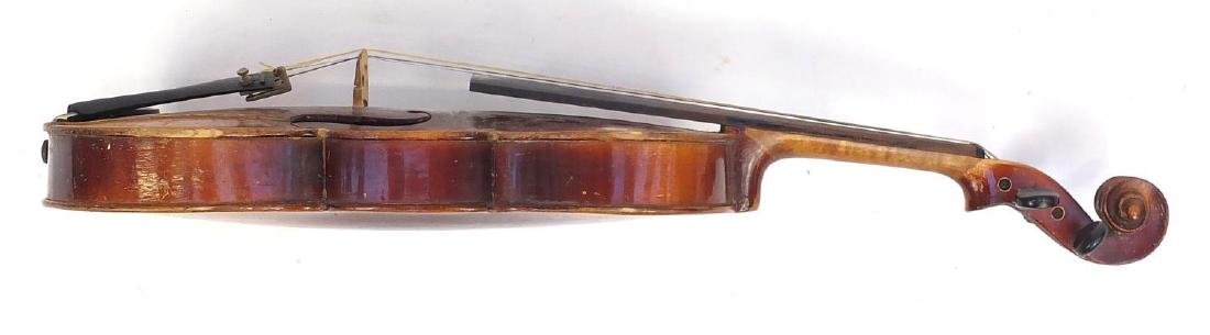 """Old wooden violin with scrolled neck, violin bow and fitted case, the violin back 14.75"""" in length - 7"""