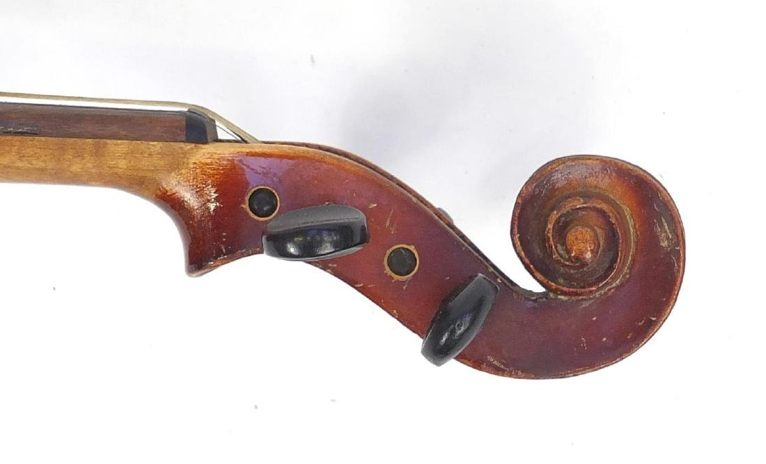 """Old wooden violin with scrolled neck, violin bow and fitted case, the violin back 14.75"""" in length - 8"""
