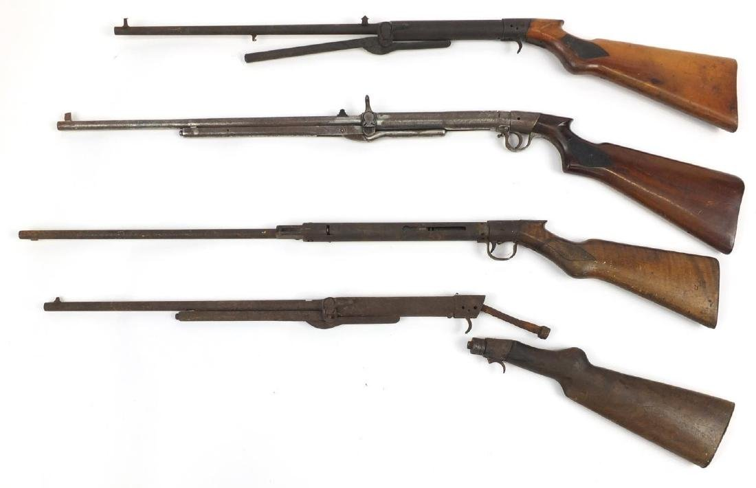 Four vintage air rifles including Milbro, BSA and Lepco, various numbers, the largest 110cm in