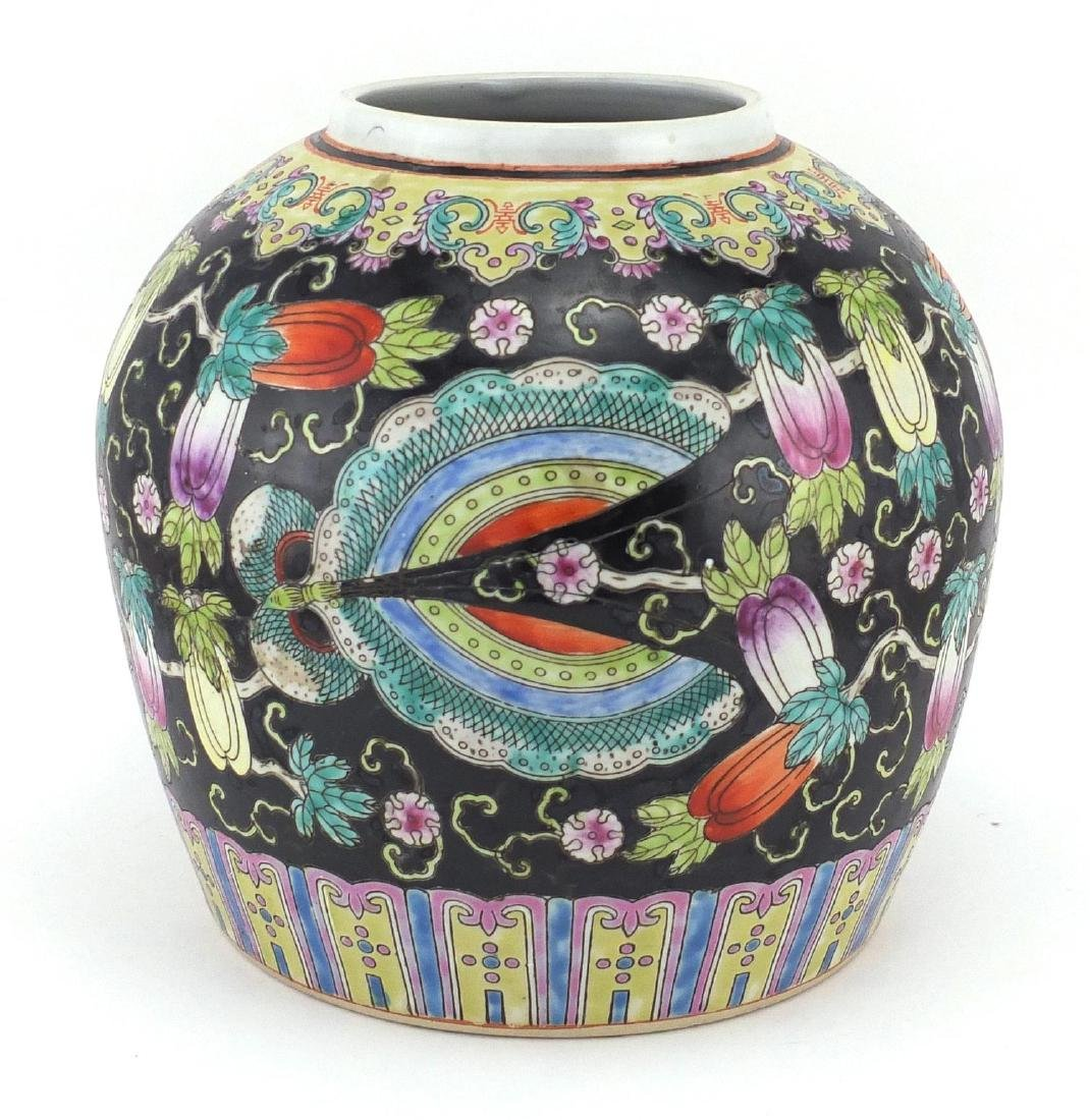 Chinese porcelain ginger jar, hand painted in the famille noir palette with insects and fruit, 21.