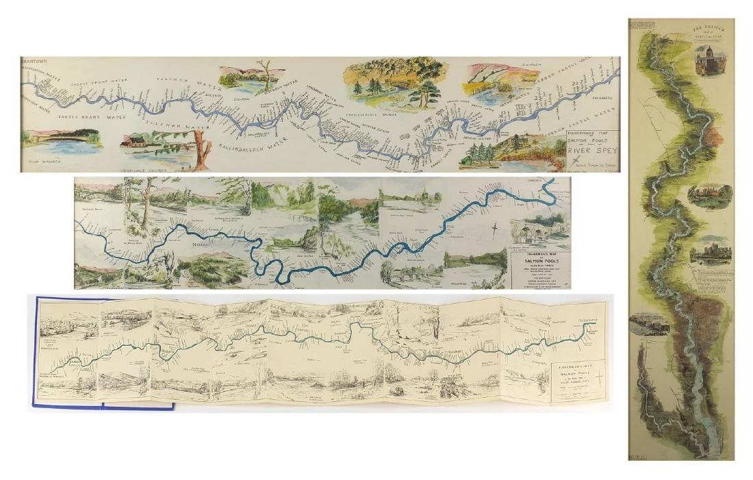 Fisherman's map of salmon pools on the river Dee by Maude Parker 1931 together with three framed