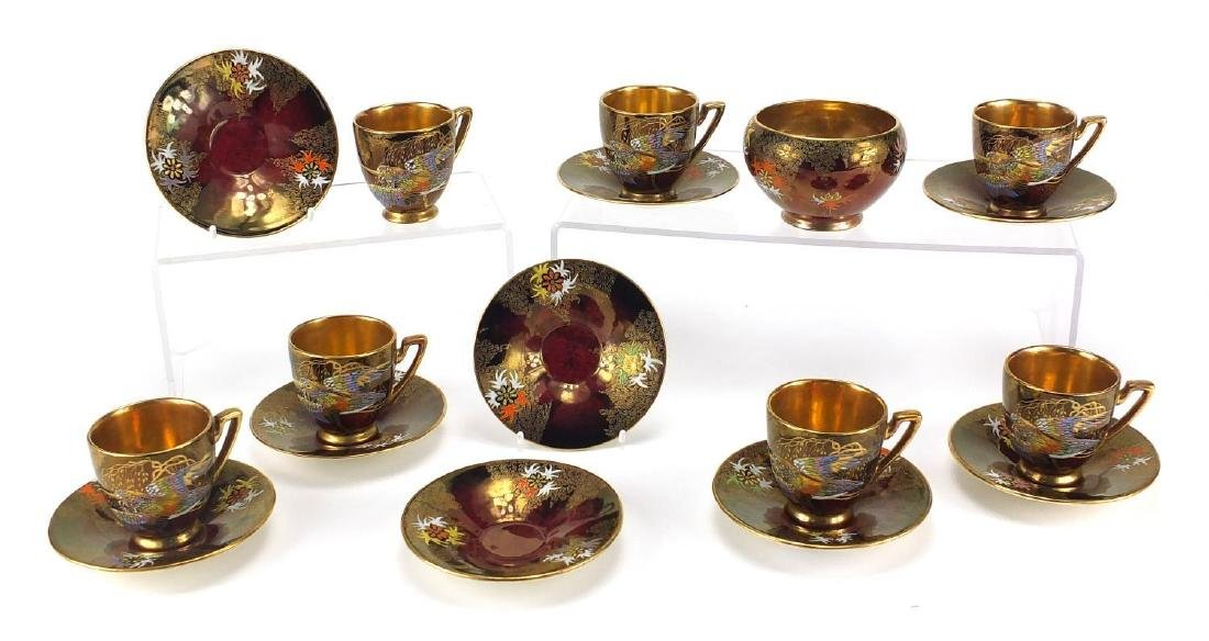 Set of six Carlton Ware Scratching birds coffee cans, saucers and sugar bowl, each hand painted with