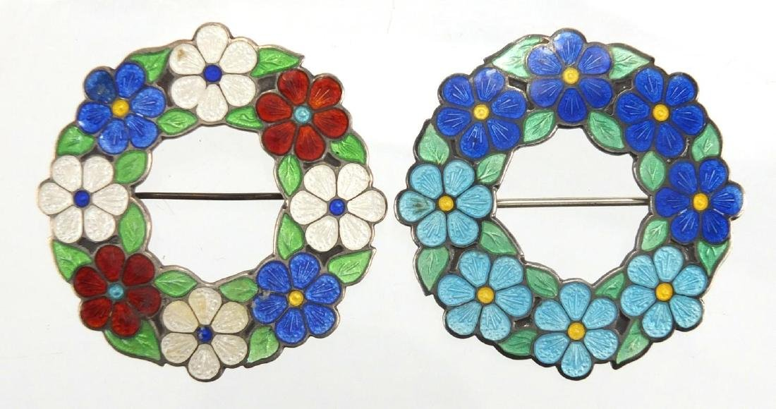 Two silver and guilloche enamel floral brooches by Alfred Horatio Darby, both hallmarked