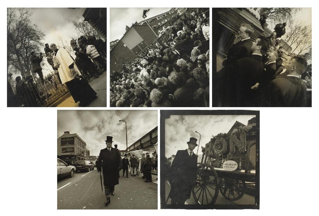 Five black and white photographs of Ronnie Krays funeral, by Show Off Steve Read 1998, (