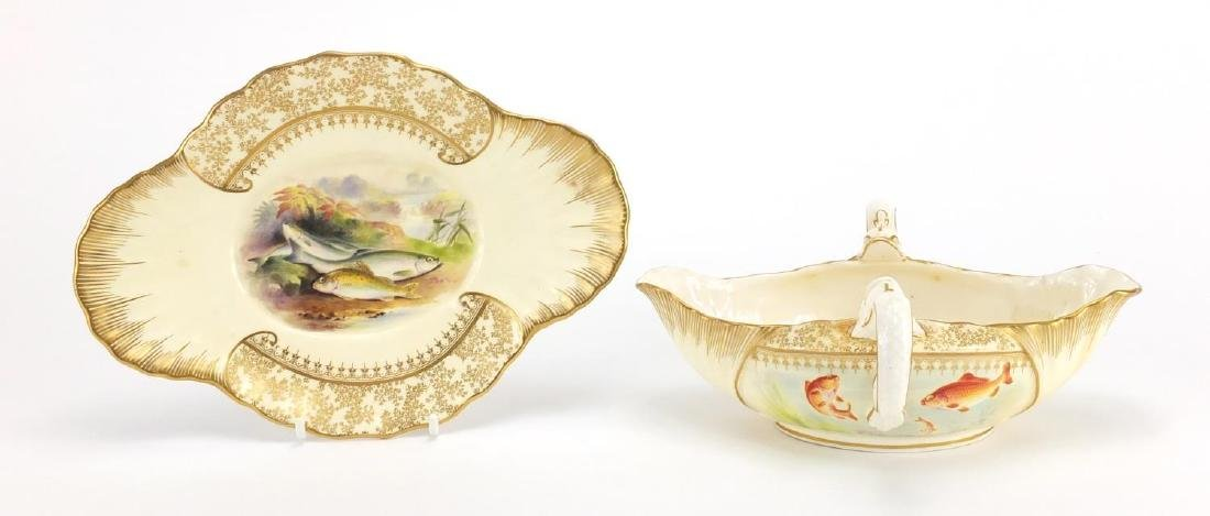 Victorian Royal Worcester porcelain sauce boat on stand, with twin dolphin handles hand painted by E
