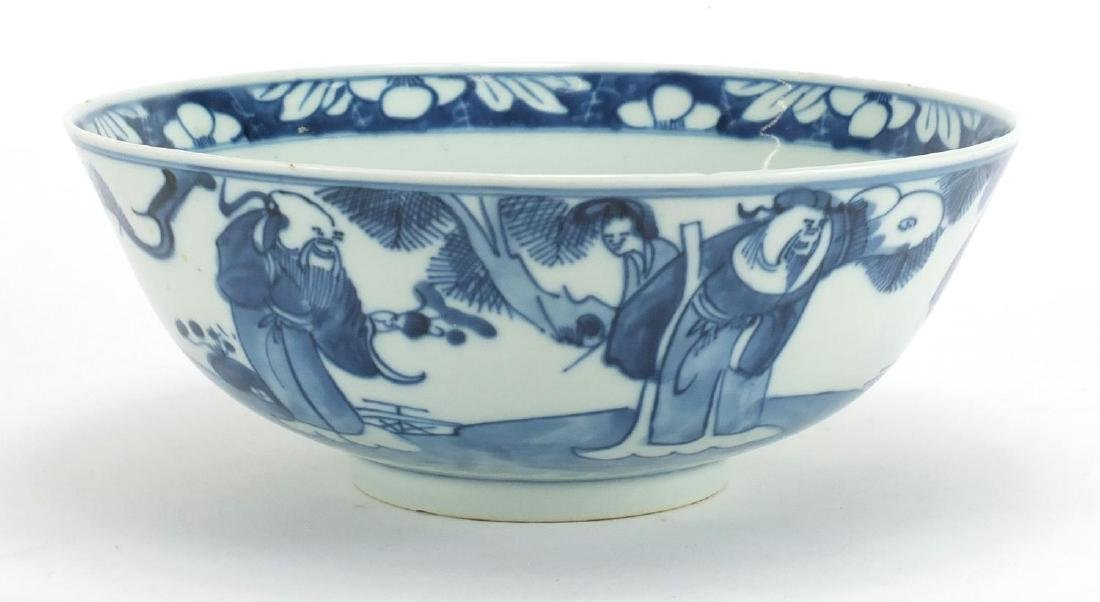 Korean blue and white porcelain bowl hand painted with figures, character marks to the base, 22.