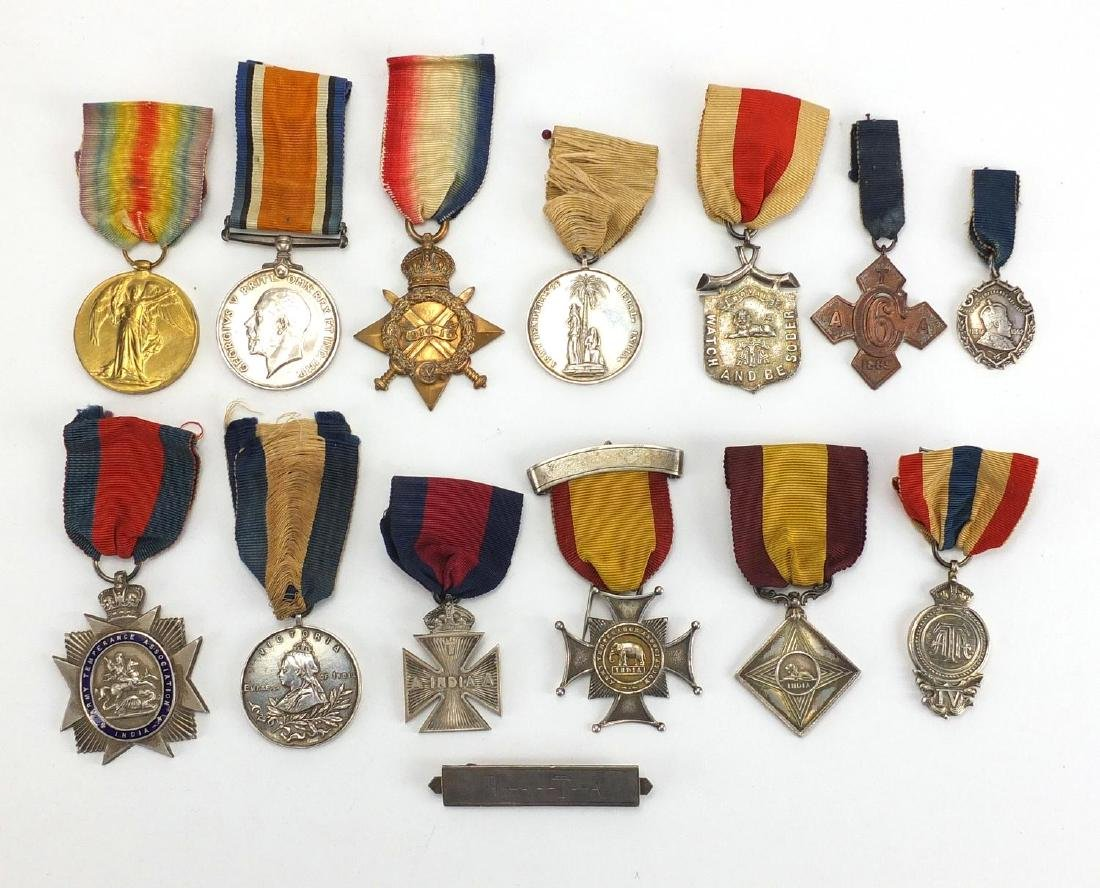 British Military World War I trio, together with a group of Army Temperance Associations medallions,