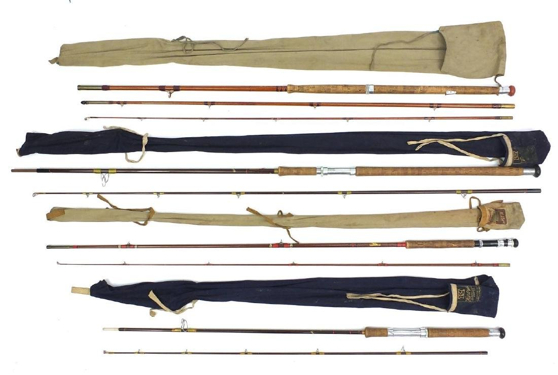 Seven split cane fishing rods including two Hardy Bros Fibalite Spinning, each with canvas bags