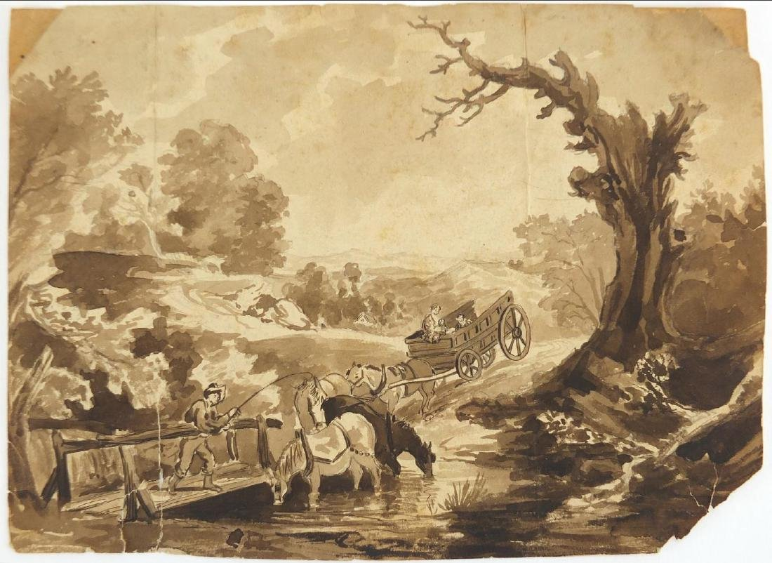 Thomas Gainsborough - The Brook by The Way, 18th century Old Master wash on card, inscribed and