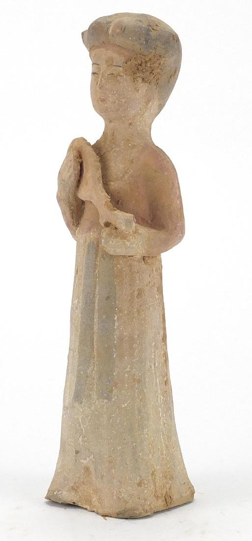 Chinese Hand painted terracotta figure of a female, 24.5cm high Further condition reports can be