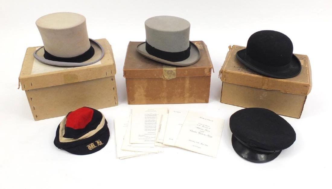 Three vintage gentleman's together with a Naval peak cap and rugby cap, four by Herbert Johnson