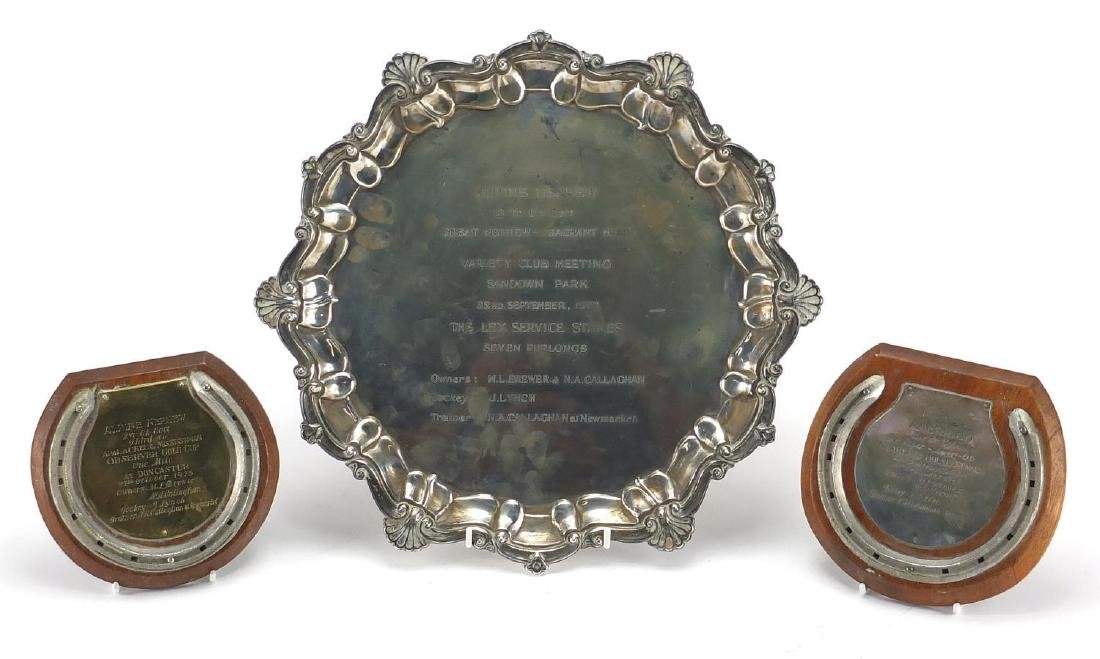 Horse racing interest silver four footed salver together with two oak backed hoof wall plaques,