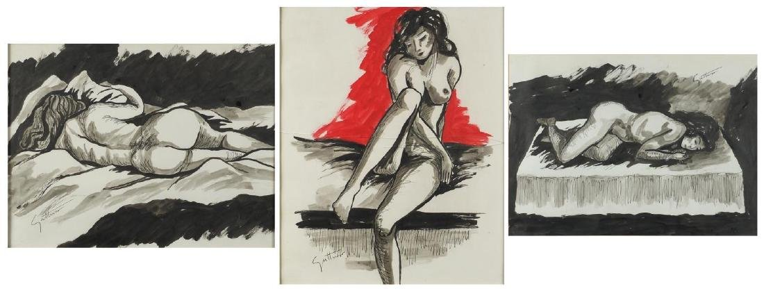 Manner of Renato Guttuso - Three nude studies, ink and watercolour on paper, all framed, the largest