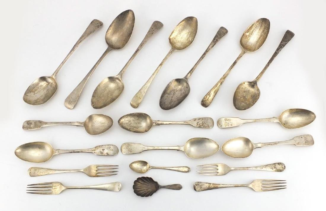 Georgian and later silver flatware including tablespoons, set of forks and a caddy spoon with