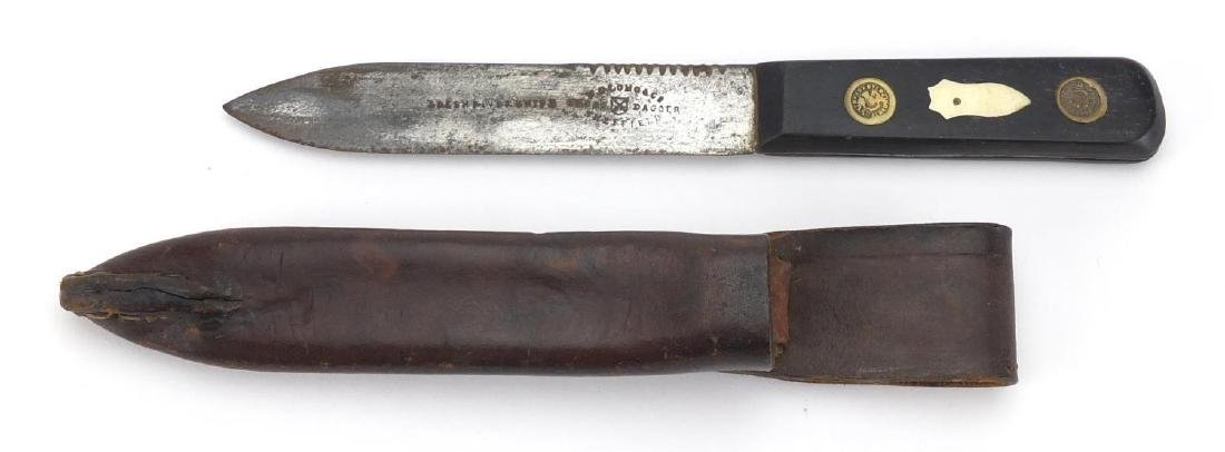 19th century green river knife with leather sheath, by M C Long & Co of Sheffield, 25cm in length