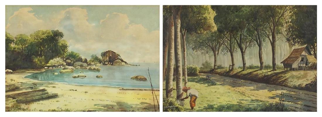 Abu Bakar Ibrahim - Malaysian street scene and beach scenes, pair of watercolours, both mounted