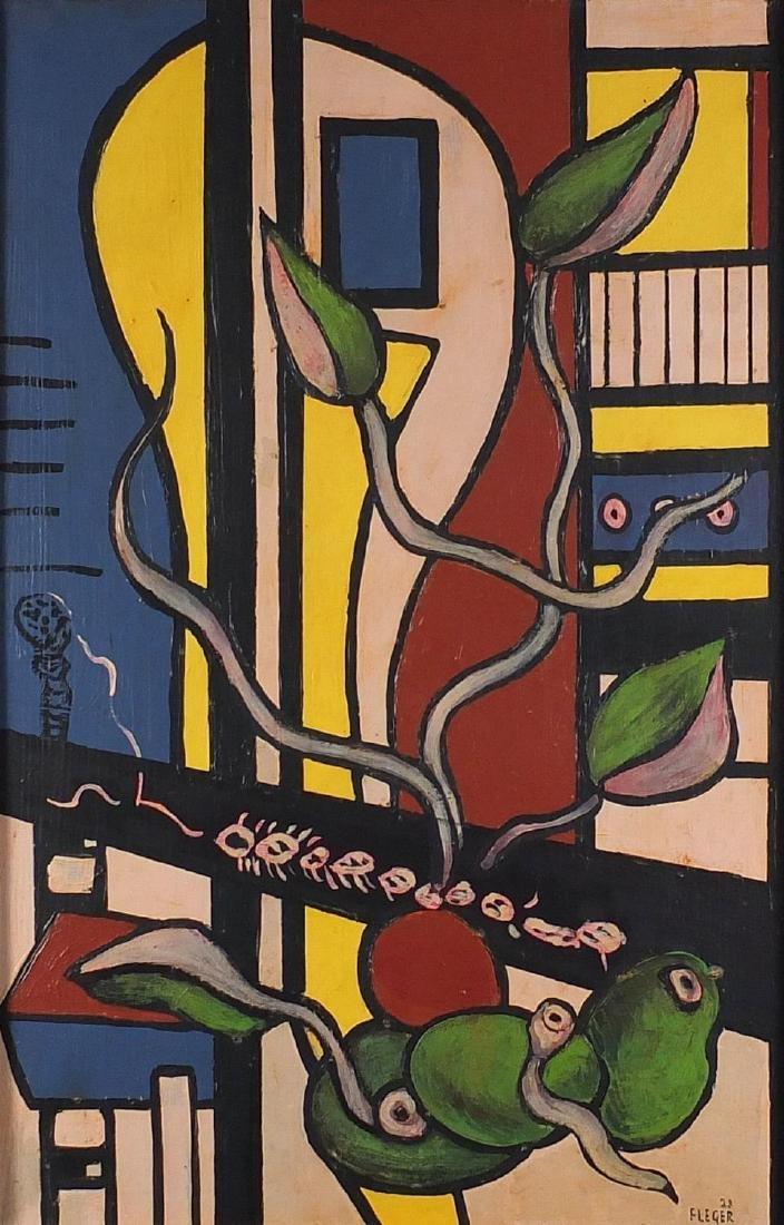 Manner of Fernand Léger - Abstract composition, still life, stamp verso, framed, 60cm x 39cm Further
