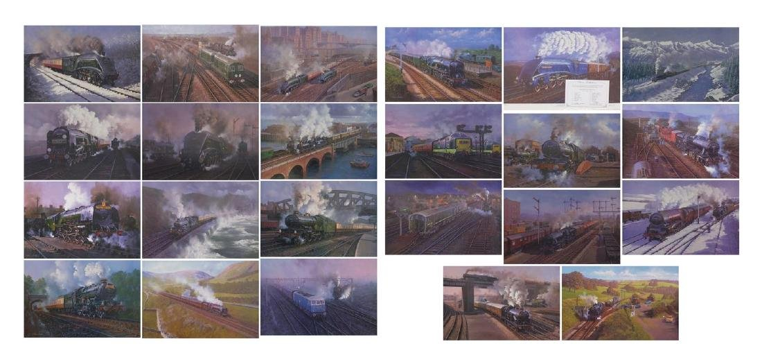 Hornby Dublo classic collections, Railwayana ink signed prints, comprising a set of twenty and a set