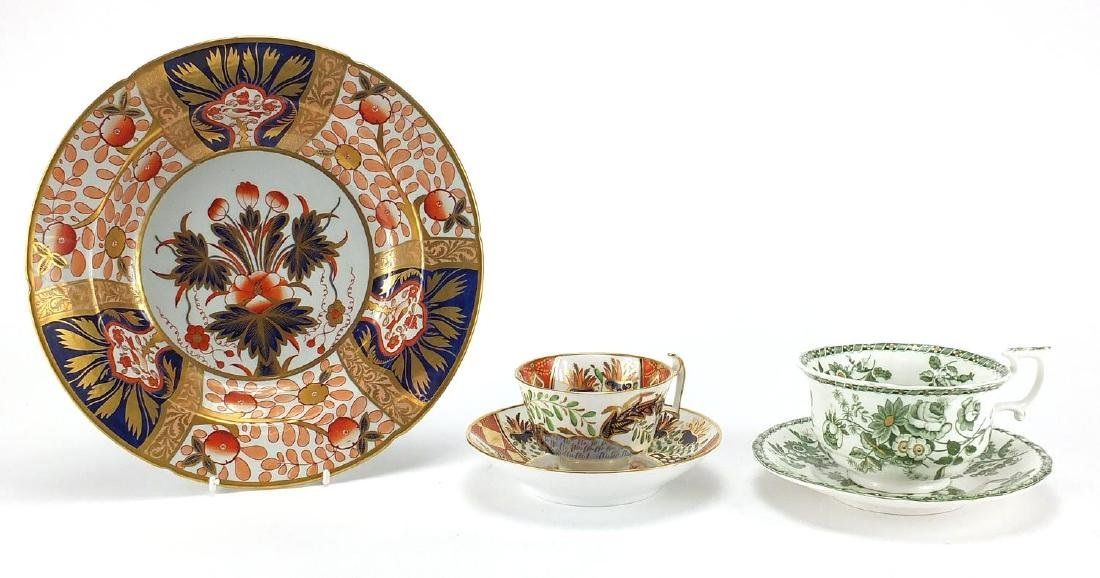 Victorian Imari pattern Spode plate, cup and saucer together with a Copeland cup and saucer, the