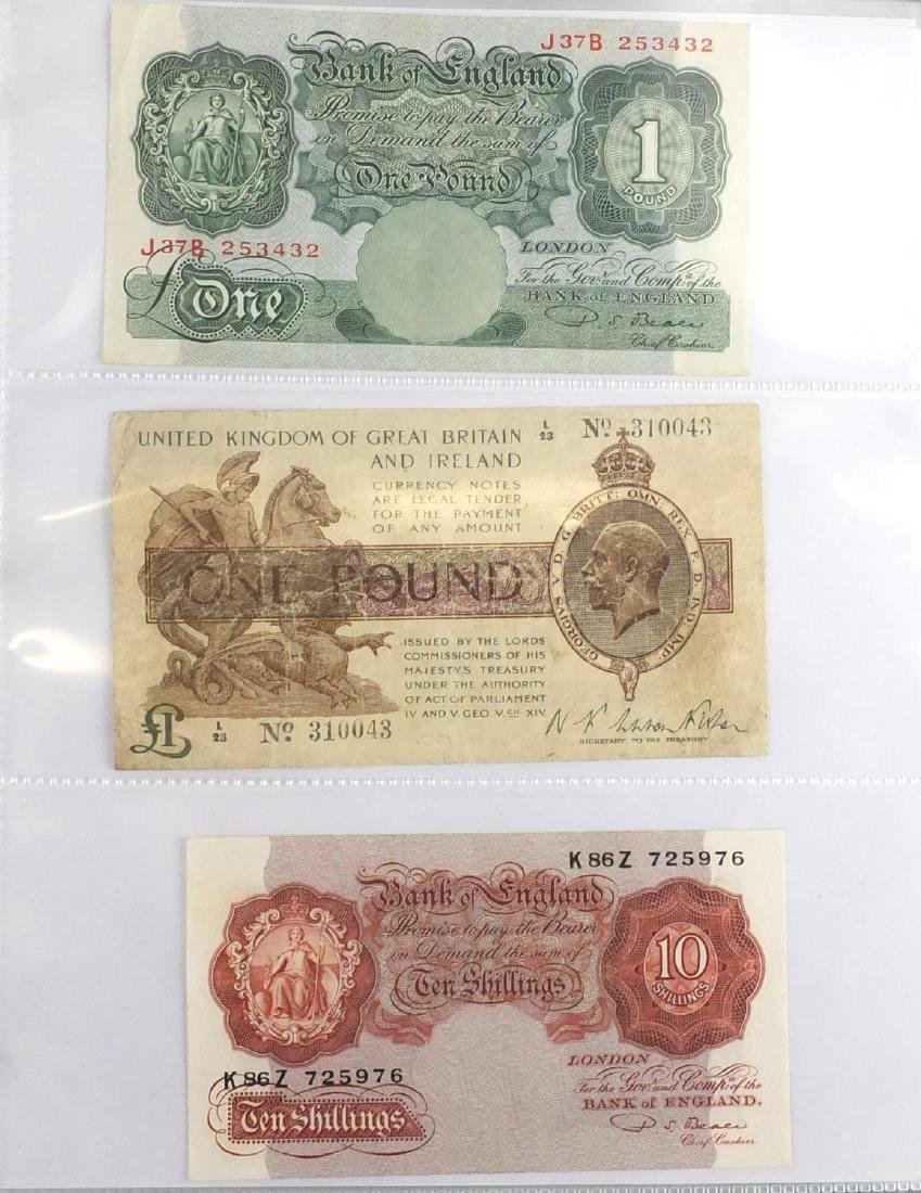British and World banknotes, various denominations and cashiers arranged in an album including
