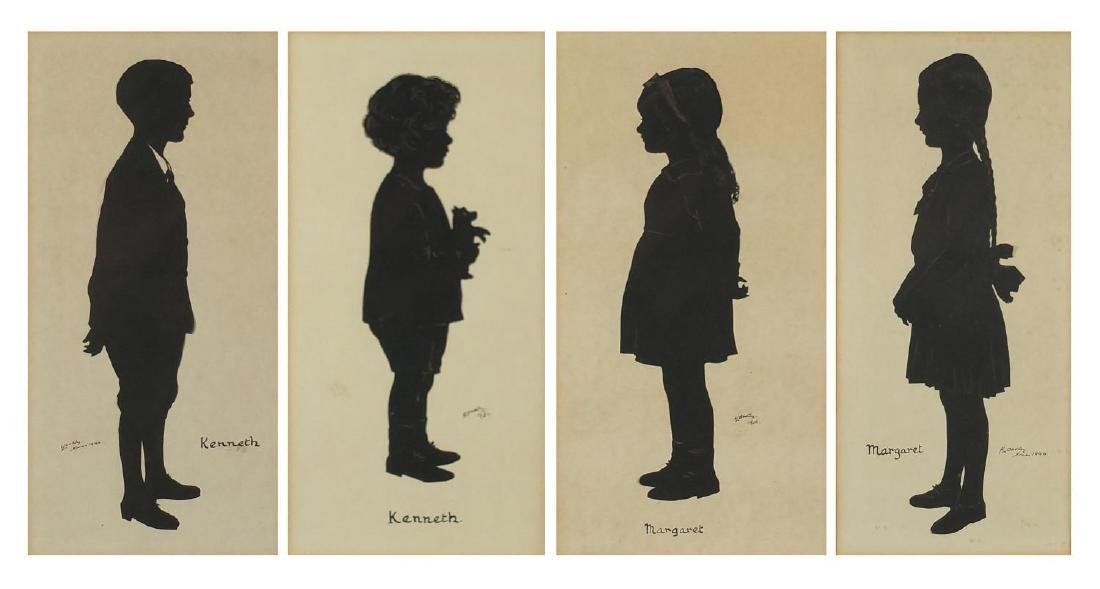 H L Oakley - Cildren silhouettes on card, mounted and framed, each 24.5cm x 11.5cm Further condition