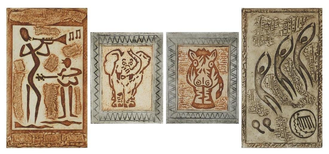 Emmanuel Mukwiro - Two pairs of pencil signed limited edition prints in colour, zebra, rain dance,