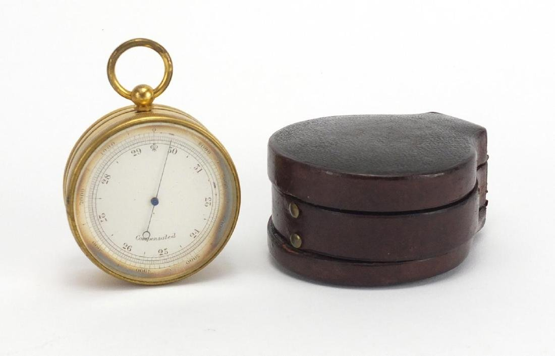 19th century gilt brass pocket weath station with compensated barometer, thermometer and compass,