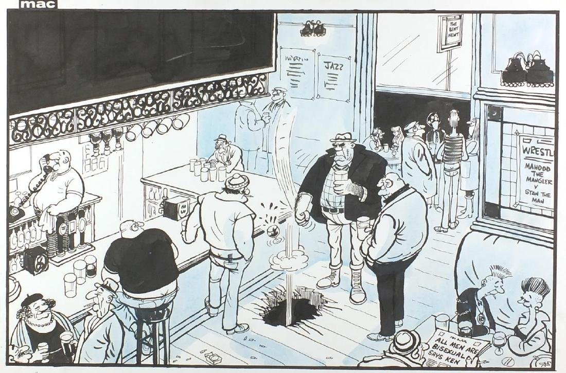 MAC - All men are bisexual, referring to Ken Livingstone, Daily Mail ink and wash cartoon