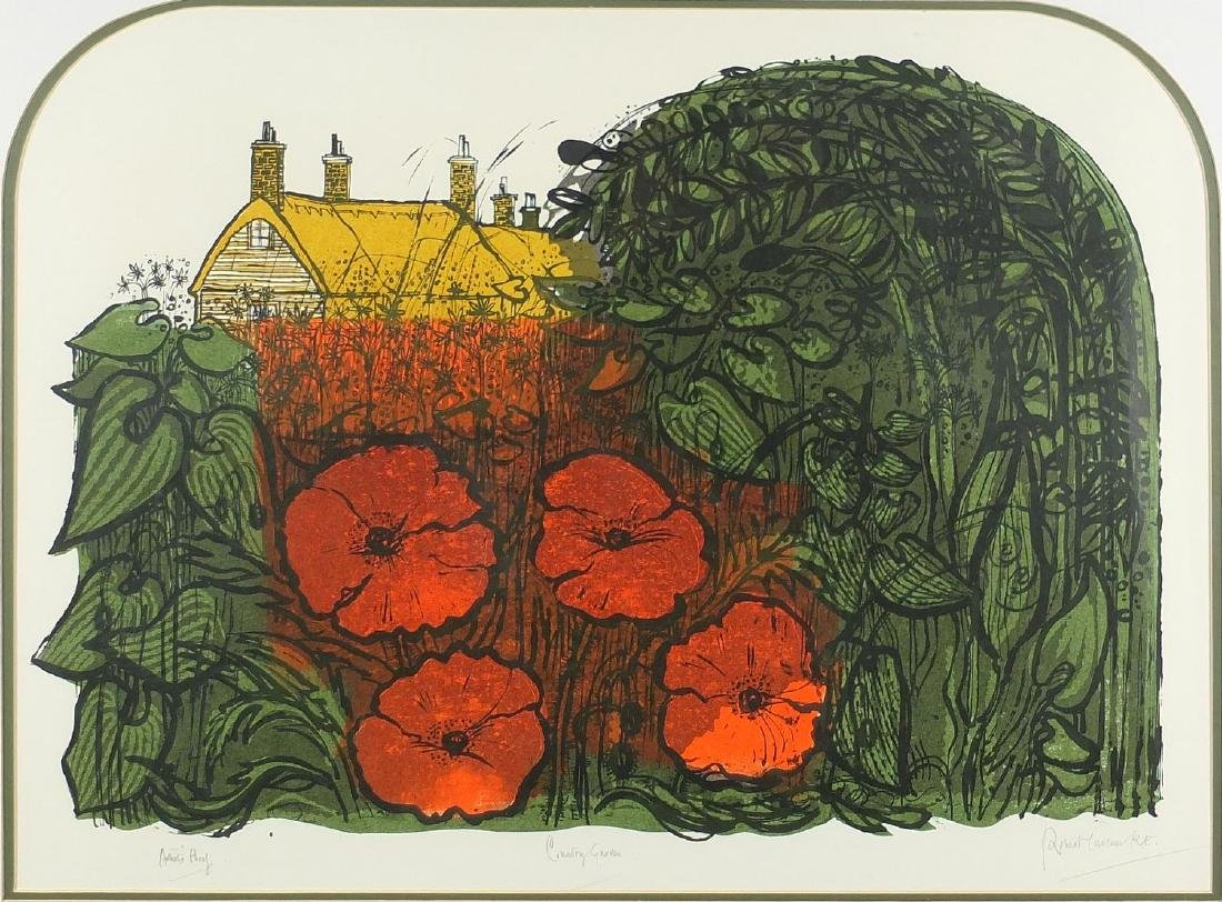 Robert Tavener RE - Country garden, pencil signed artist proof lithograph in colours, mounted and