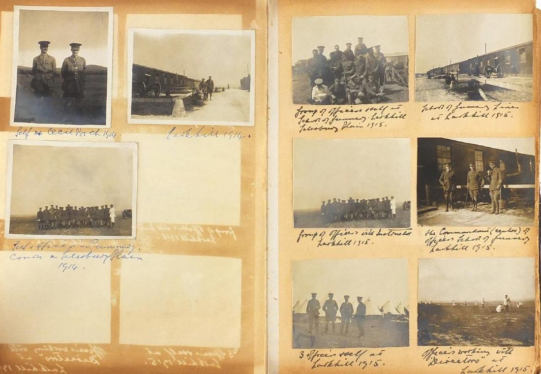 World War I Military interest black and white photographs and ephemera arranged in an album,
