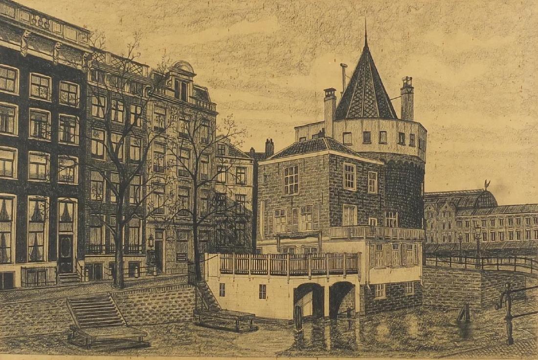 Richard Lovett - Schrelestoren, The Tower of Tears, Amsterdam, 19th century graphite drawing from