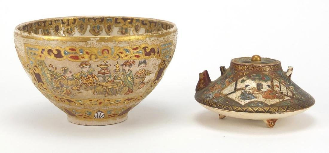 Japanese Satsuma pottery teapot and bowl, each hand painted with panels of figures, the teapot
