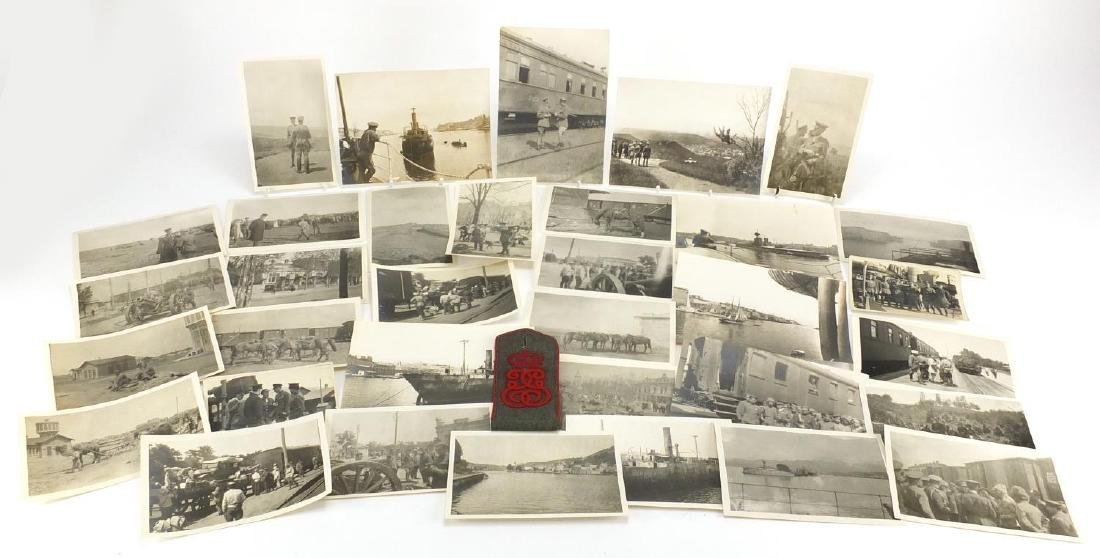 World War I Military black and white photographs of the Russian Front, including ships and trains,