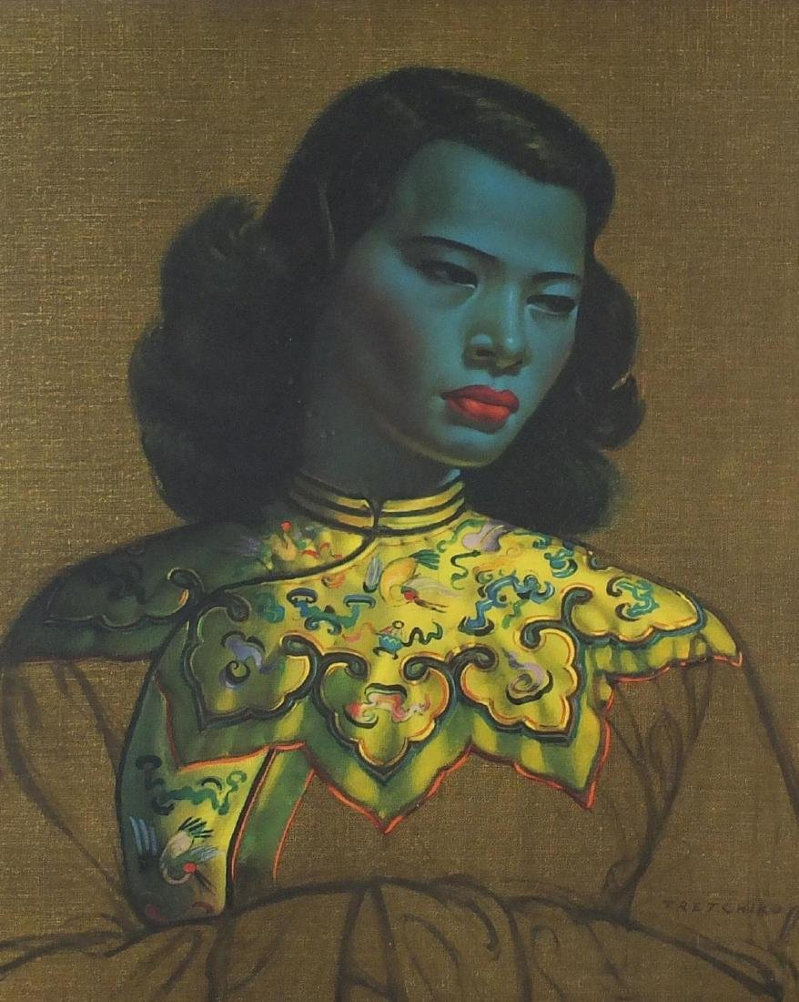 Vintage Tretchikoff print of Chinese lady, framed, 60cm x 50cm
