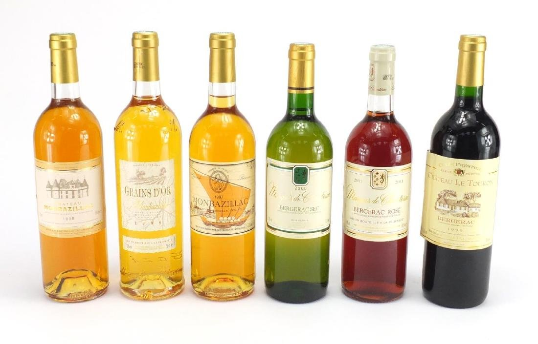 Six bottles of 1998 Grains D'Or Monbazilloc, with wooden crate