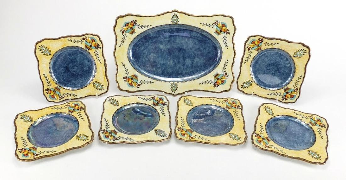 Royal Winton lustre side plates and sandwich plate, hand painted with stylised baskets and
