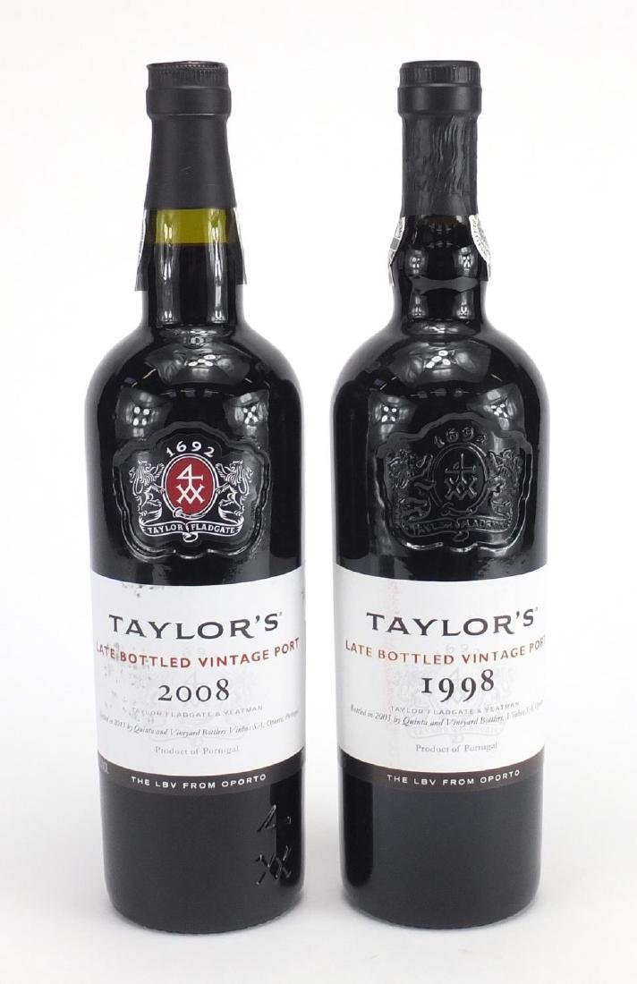 Two bottles of Taylor's late bottled vintage port, 1998 and 2008