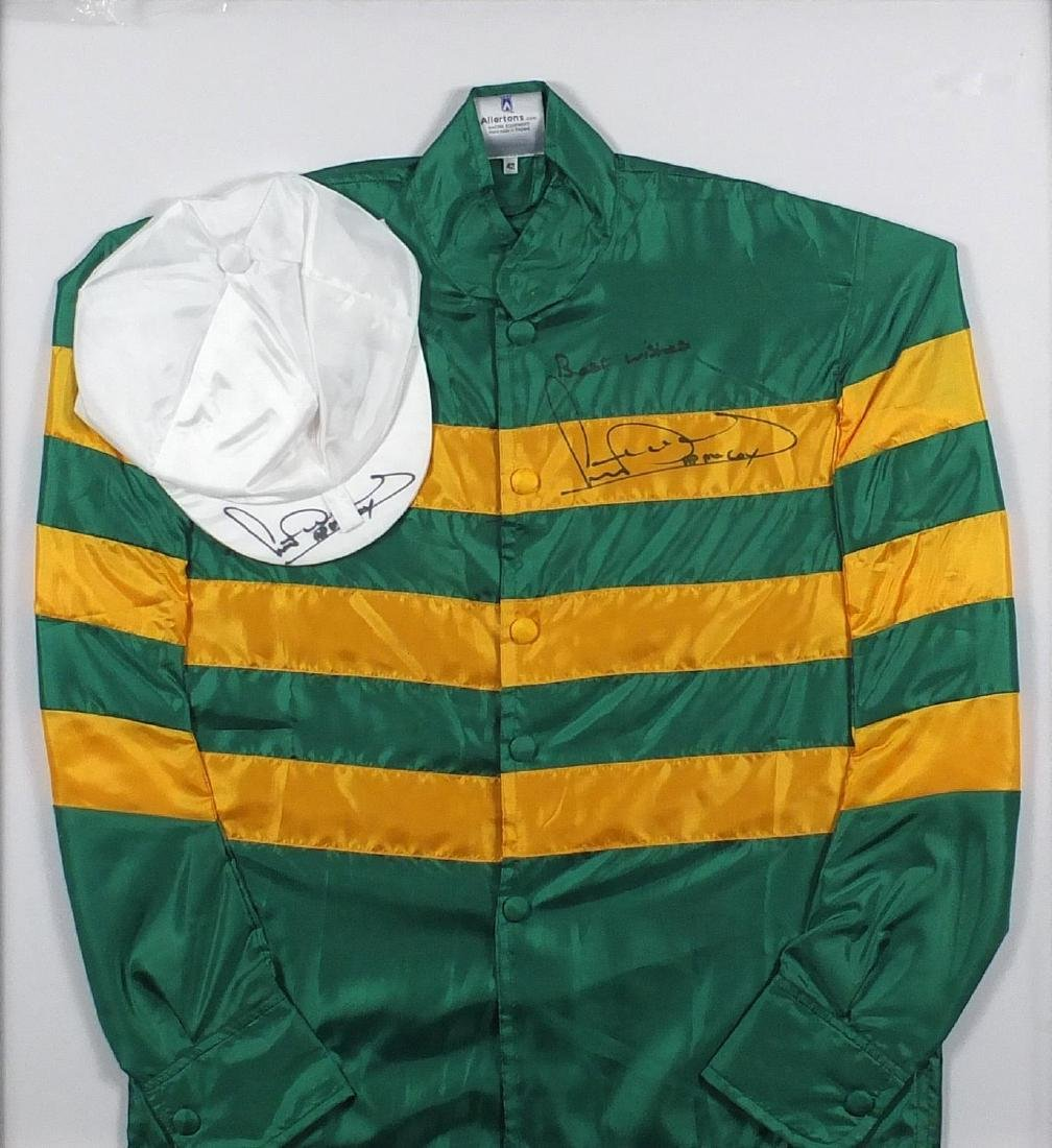 Set of Alertons racing silks and cap, both signed by Sir Anthony Peter McCoy