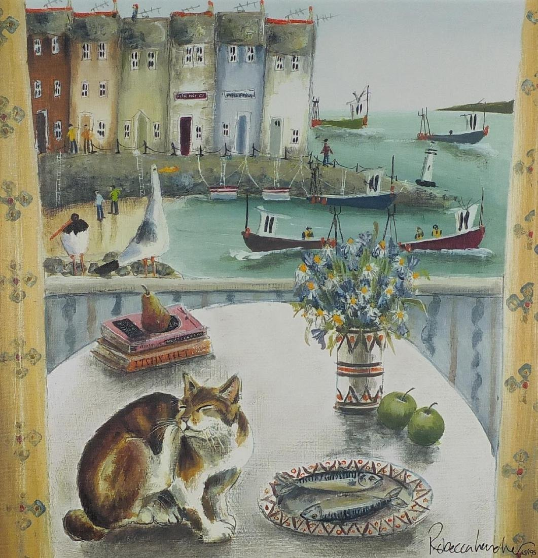 Rebecca Lardner - A room with a view, signed coloured print canvas board, limited edition 65/195,