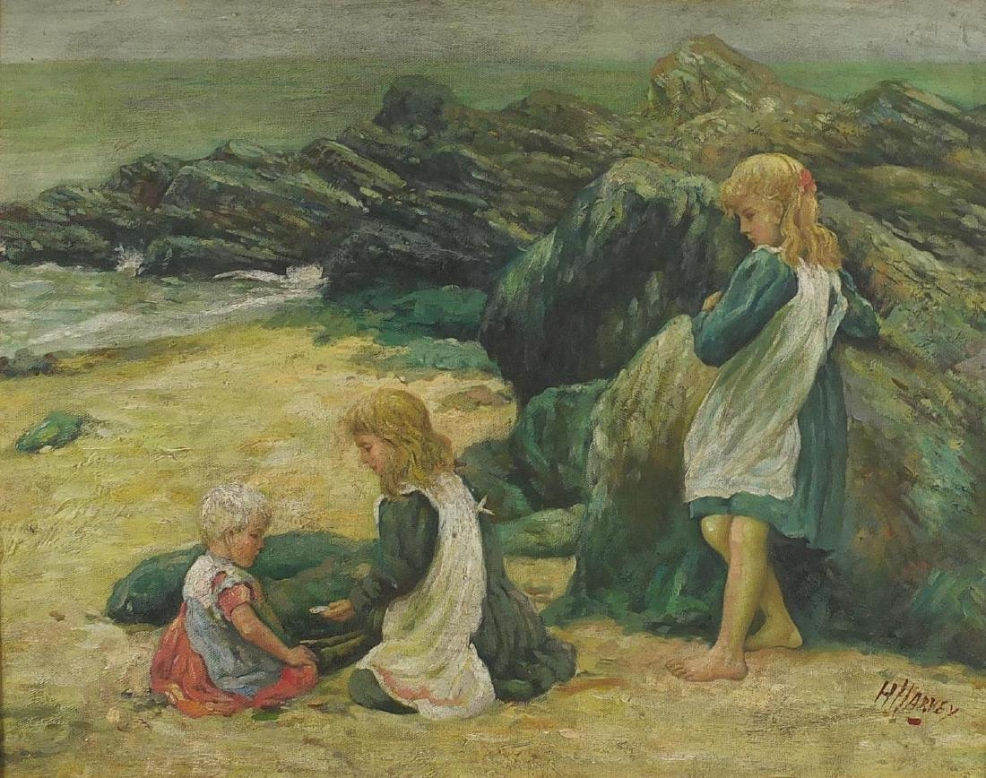 Children on a beach, oil on board, bearing a signature Harvey, mounted and framed, 49cm x 39cm