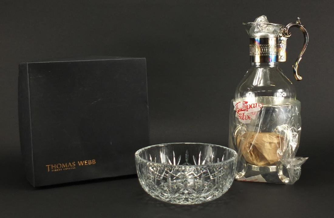 Silver plated glass cup carafe together with a Thomas Webb crystal bowl, with box, the largest