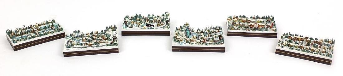 Six Hawthorne Village Christmas miniatures including Christmas Crossing B0863
