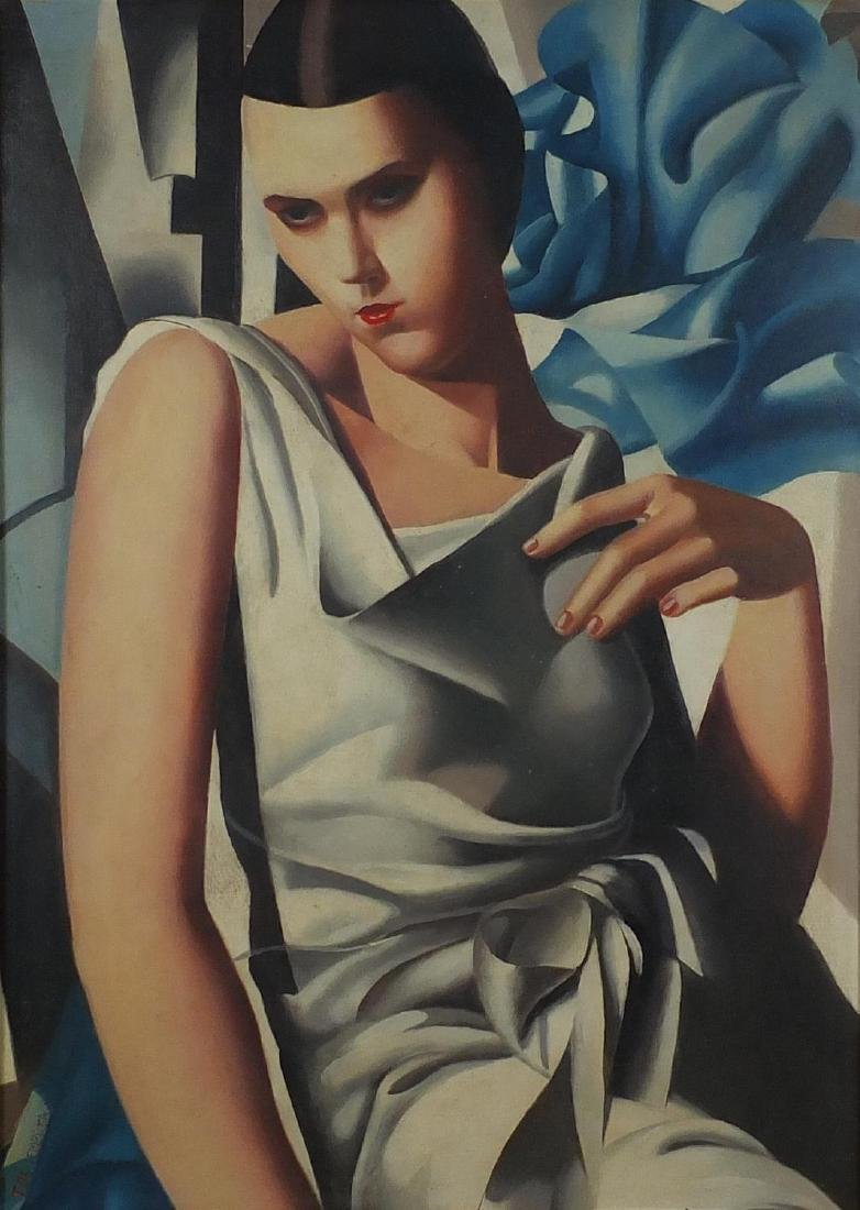 Manner of Tamara de Lempicka - Top half portrait of an Art Deco female, oil on board, mounted and