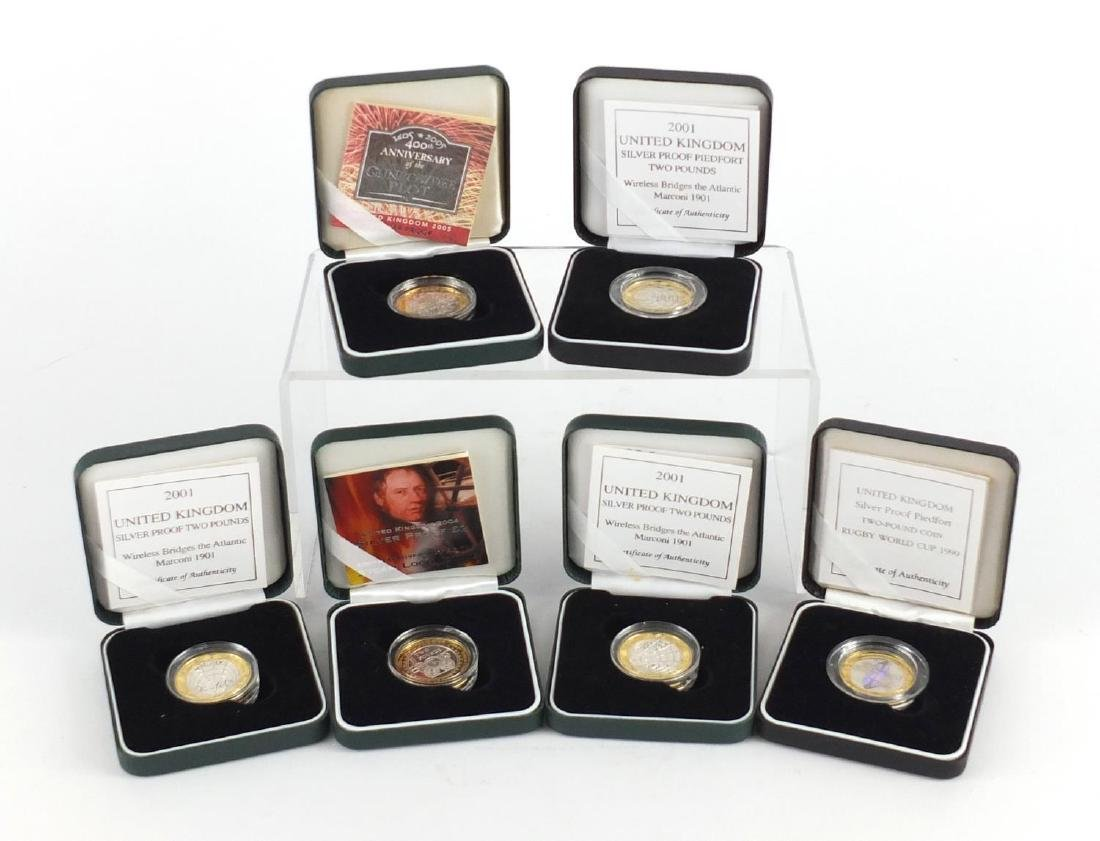 Six silver proof two pounds including Wireless Bridges the Atlantic Marconi 1901 and 200th