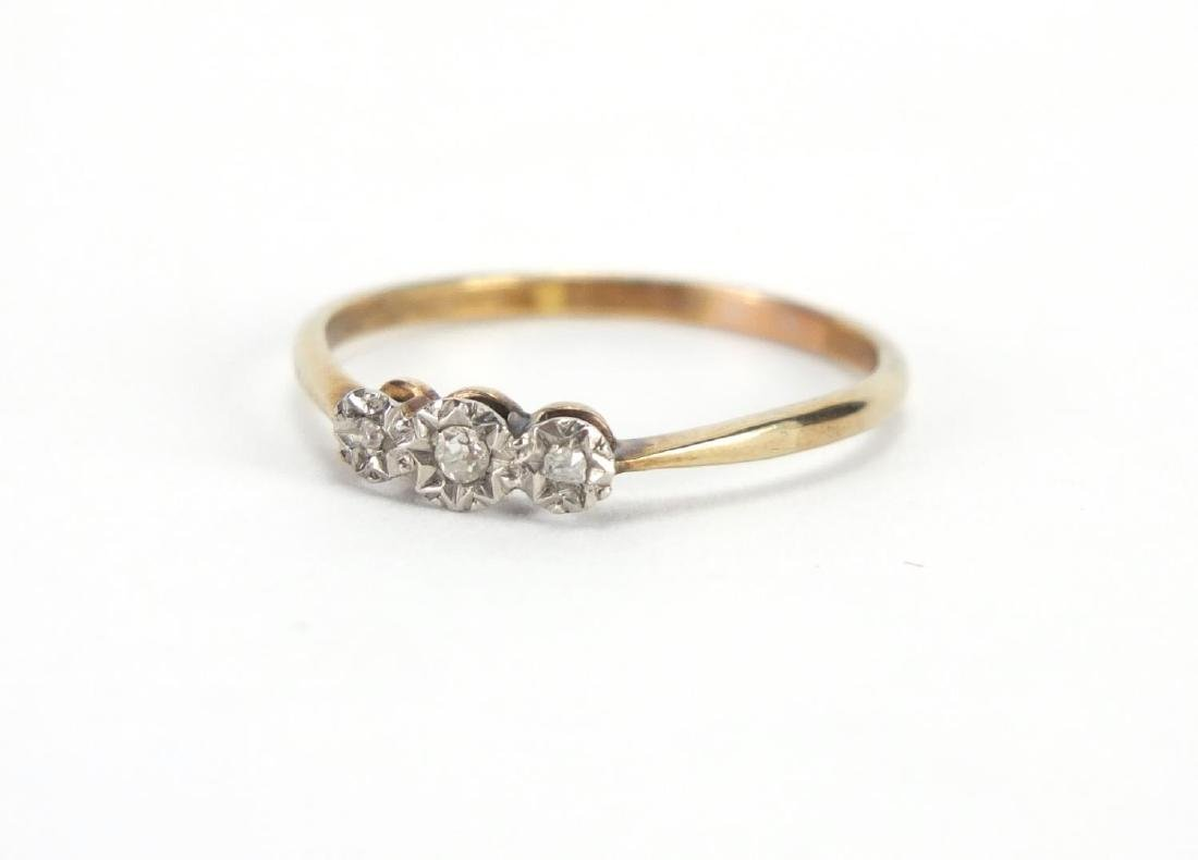9ct gold diamond three stone ring, size W, approximate weight 1.7g