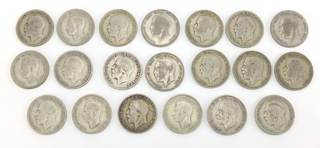 British pre decimal pre 1947 half crowns, approximate weight 270.0g