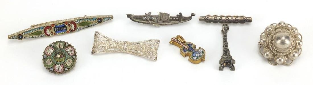 Souvenir jewellery including micro mosaic brooches and Filigree silver examples, the largest 6cm