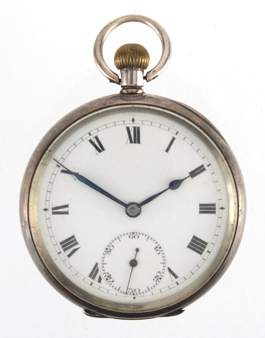 Gentleman's silver open face pocket watch with engine turned decoration, stamped D.F and C to the