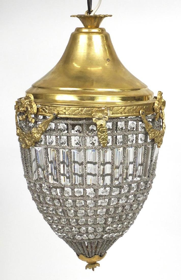 Ornate brass and glass bag chandelier, 50cm high