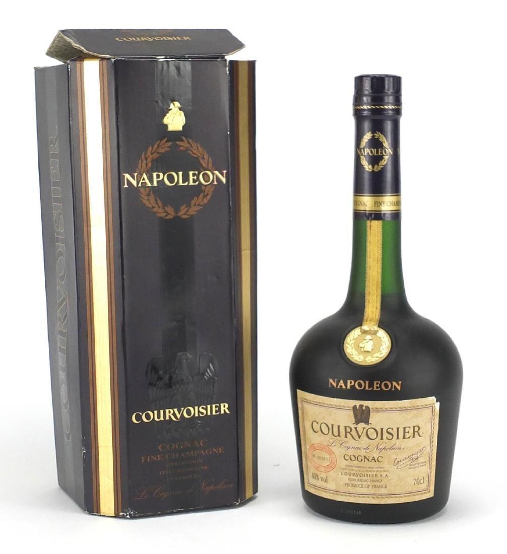 Bottle of Napoleon Courvoisier fine champagne cognac with box